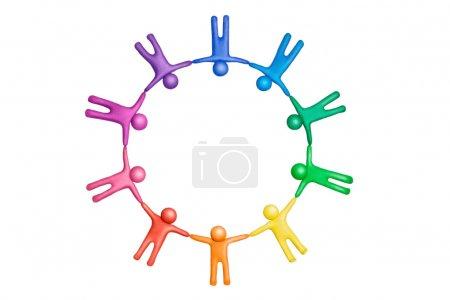 Photo pour Figures humaines en plasticine multicolore organisées en cercle - image libre de droit