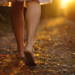 Young female legs walking towards the sunset on a ...
