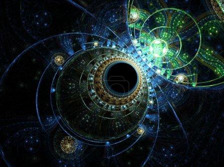 Photo pour Prélèvement fractal en forme d'horloge de l'océan - image libre de droit