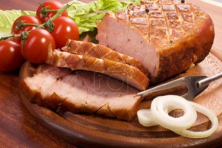 Close-up of a roast tenderloin pork