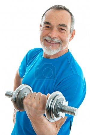 Photo for Senior man lifting weights during gym workout - Royalty Free Image