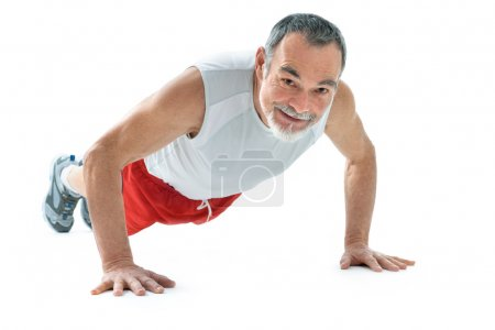 Senior man doing push-ups