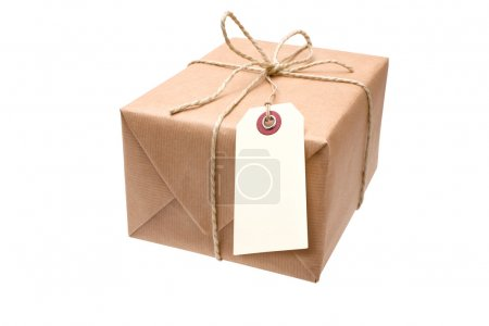 Brown paper parcel with a tag