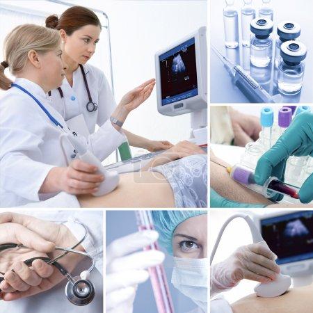 Foto de Varias imágenes médicas relacionadas en un collage - Imagen libre de derechos