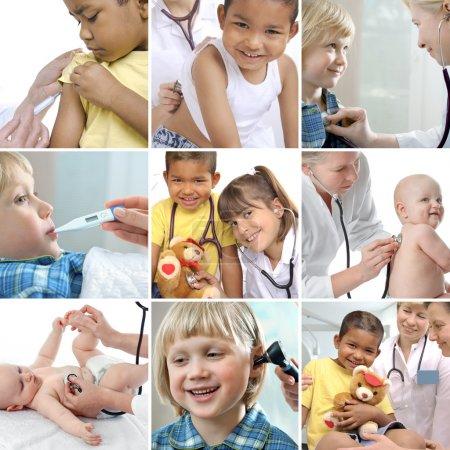 Foto de Varios niños imágenes relacionadas con la salud en un collage - Imagen libre de derechos