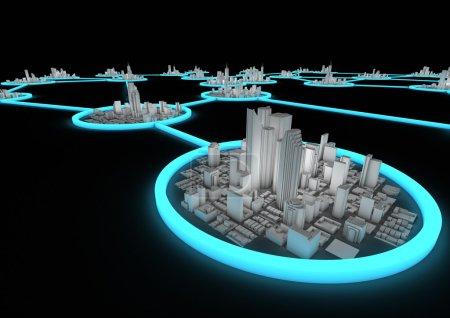 Photo pour Rendement de plusieurs villes connectées dans un réseau - image libre de droit