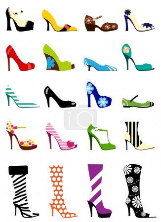 Illustration pour Ensemble de chaussures femme mode - image libre de droit