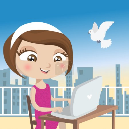 Illustration for Girl with laptop illustration - Royalty Free Image
