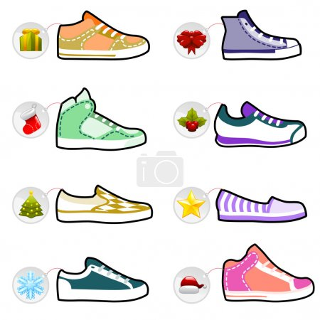 Illustration for Shoes with christmas labels set - Royalty Free Image