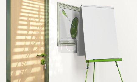 Photo pour Tableau à feuilles vierges dans une salle de réunion avec espace de copie - ton vert - image libre de droit