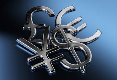 Photo pour Dollar argenté, yen ou yuan, livre, euro signes sur un fond bleu - image libre de droit