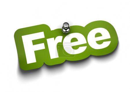 Photo for Free sticker fixed on a white wall with a thumbtack - Royalty Free Image