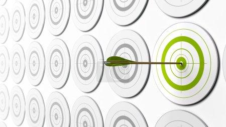 Photo pour Flèche verte frapper le centre d'une cible verte il est gris cibles autour de - image libre de droit