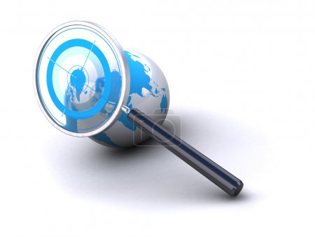 Photo for Earth and magnifying glass with target image is isolated over a white background - Royalty Free Image