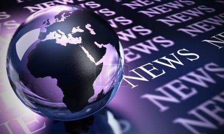 Photo pour Sphère mondiale faite en verre et le mot nouvelles image est bleu et violet tonique - image libre de droit