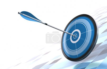 Photo for Blue target and arrow over a modern background image is placed on the bottom right side - Royalty Free Image