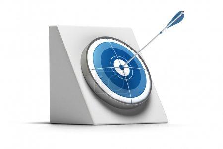 Photo pour La cible et la flèche touchent le centre du cercle - la fléchette est bleue et l'image est sur un fond blanc - image libre de droit