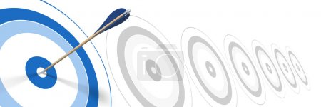 Efficient - blue arrow, hitting the center of blue target