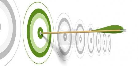 Photo pour Flèche verte, frapper le centre d'une cible verte avec des cibles à l'arrière-plan gris - image libre de droit