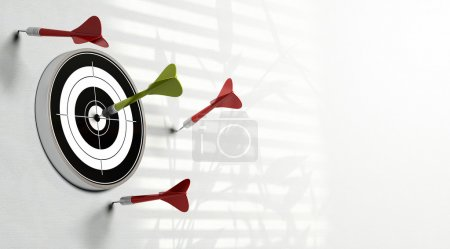 Photo for Three red darts failed to hit the center of the target and a green dart made the perfect shot image over a white background - Royalty Free Image