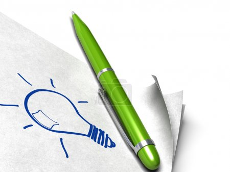 Photo for Light bulb written on a white page with a green pen on it - Royalty Free Image