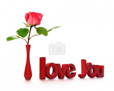 Photo pour Je t'aime message avec une rose, carte d'amour - image libre de droit