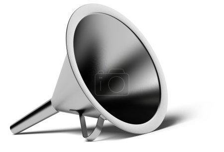 Photo pour Entonnoir métallique sur fond blanc avec ombre - image libre de droit