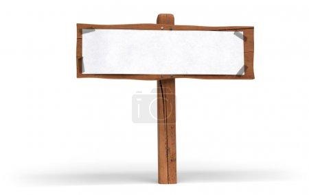 Photo pour Petit panneau en bois sur fond blanc. Un papier blanc est fixé sur le panneau en bois avec du ruban plastique pour écrire un message de communication - image libre de droit