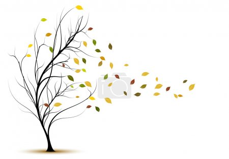 Decorative tree silhouette in autumn