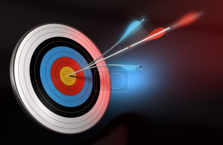 Photo for One blue arrow splitted with a red arrow hitting the center of a target, 3d render over black, blue and red background - Royalty Free Image