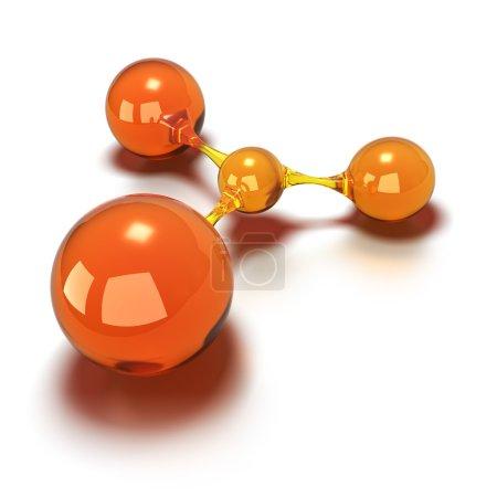 Photo pour Sphères orange toutes les boules sont connectées les unes aux autres, image concept 3d sur un fond blanc - image libre de droit
