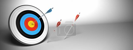 Target arrow over a gray background banner