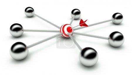 Photo pour Conception abstraite du réseau et du leadership, communication 3d - image libre de droit