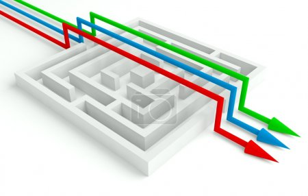 Photo for 3d Maze Solved by Workgroup, Smart Solution - Royalty Free Image