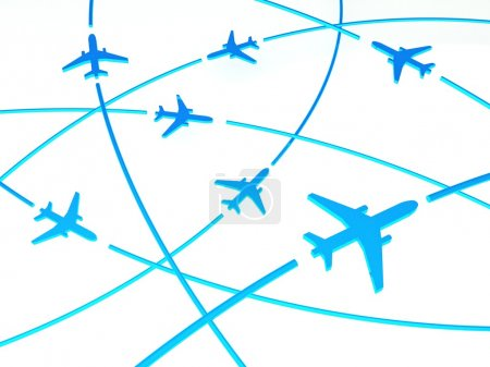 3d Airplane Routes, white background