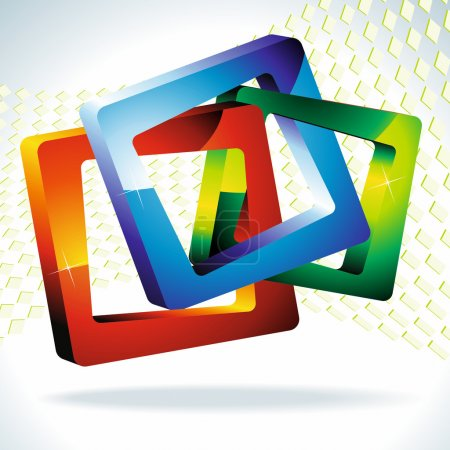 Multi-colored squares 3d.