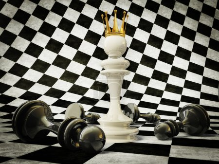 3d chess pieces on a white and black background