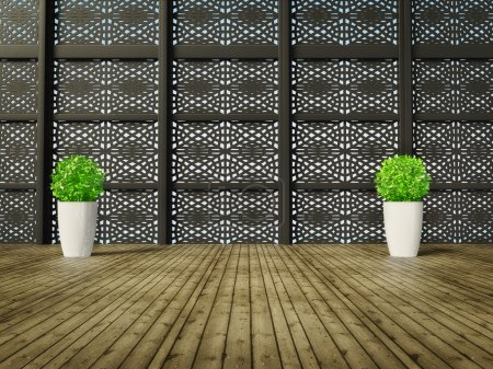 Photo for Modern room with a black pattern wall - Royalty Free Image