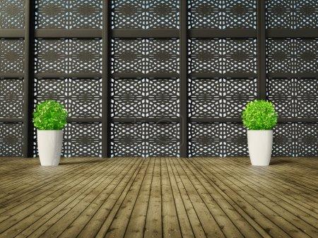 Photo pour Chambre moderne avec un mur de motif noir - image libre de droit