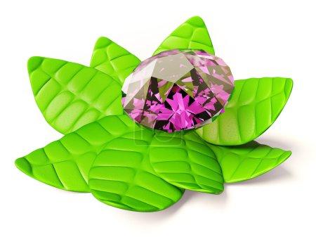 Photo pour Diamant rose isolé sur une feuille verte - image libre de droit