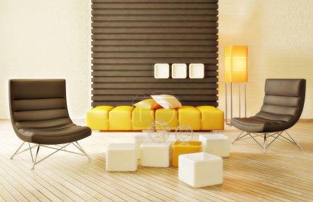 Photo pour Salle intérieur moderne avec beaux meubles à l'intérieur - image libre de droit