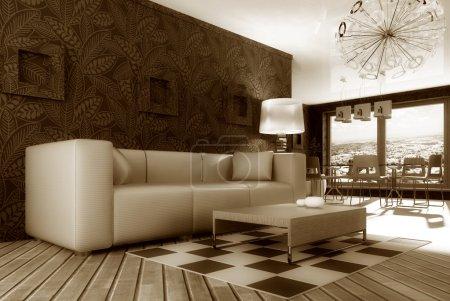 Foto de Moderna sala de estar con sofá blanco - Imagen libre de derechos