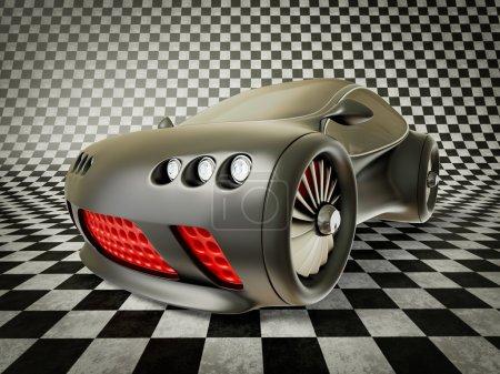 Photo pour Supercar noire avec une calandre rouge sur fond sombre - image libre de droit