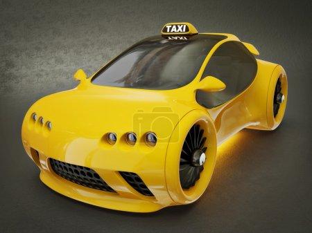 Photo pour Taxi jaune moderne sur fond noir - image libre de droit