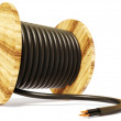 Black electrical cable on white background isolate...