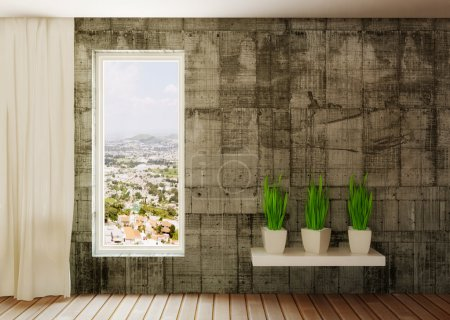 Photo for Conceptual modern room with green plants - Royalty Free Image