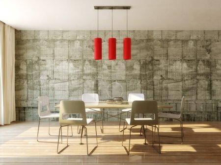 Photo pour Table à manger dans la salle avec mur en béton - image libre de droit