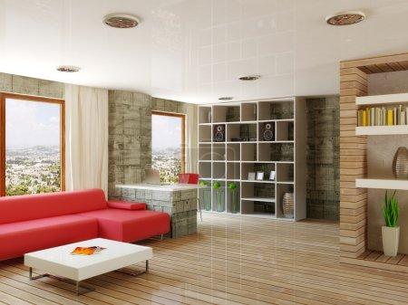 Foto de Habitación interior con pared de hormigón y sofá rojo - Imagen libre de derechos
