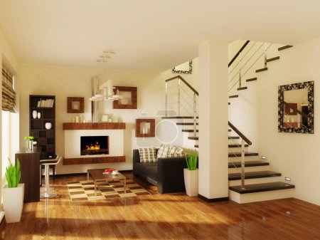 Photo for Big modrn interior room with wooden stairs - Royalty Free Image