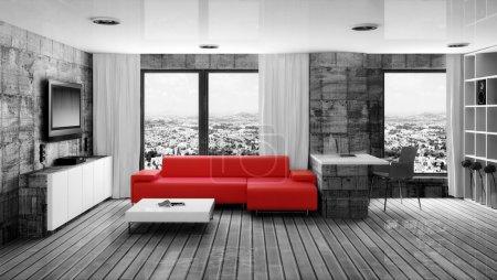 Photo pour Salle intérieur moderne avec canapé rouge - image libre de droit